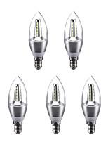 3W LED Candle Lights C35 25 SMD 2835 240 lm Warm White Cool White 220 V 5 pcs E14
