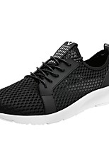 Men's Sneakers Light Soles Spring Fall Tulle Casual Outdoor Lace-up Flat Heel Black Gray Blue 3in-3 3/4in