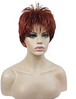 Super Short Layered Copper Red Full Synthetic Wigs