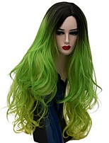 Women Synthetic Wig Capless Long Natural Wave Green Ombre Hair Natural Wig Party Wig Halloween Wig Carnival Wig Costume Wigs