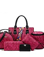 Women Bags All Seasons PU Bag Set with for Event/Party Casual Formal Outdoor Office & Career Blue Black Gray Fuchsia Wine