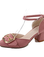 Women's Sandals Comfort Spring Summer PU Dress Party & Evening Buckle Chunky Heel Black Blushing Pink 2in-2 3/4in