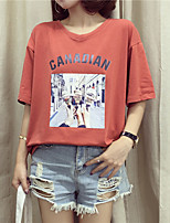 Women's Casual/Daily Simple Summer T-shirt,Print Letter Round Neck Short Sleeve Others Medium