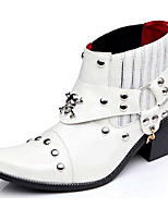 Men's Boots Fashion Boots Bootie Fall Winter Patent Leather Casual Party & Evening White Black Under 1in