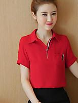 Для женщин На каждый день Лето Рубашка Рубашечный воротник,Простое Однотонный С короткими рукавами,Хлопок Другое