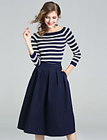 YIYEXINXIANGWomen's Party Going out Simple Fall T-shirt Skirt SuitsStriped Round Neck  Sleeve