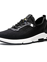 Men's Sneakers Comfort Spring Fall PU Casual Outdoor Lace-up Flat Heel Black Gray 3in-3 3/4in