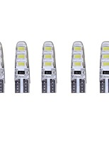 5PCS 2W DC12V White T10 SMD5630 6LED 180lm Decorative Lamp Reading Light License Plate Light Door Lamp