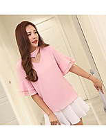 Women's Going out Cute Summer Blouse,Solid Round Neck Short Sleeve Polyester