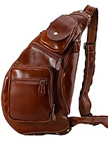 Men Bags All Seasons Cowhide Shoulder Bag with for Casual Outdoor Brown