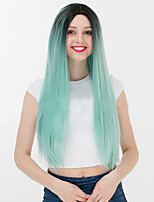 Fashion Black To Green Mixed Color Straight Synthetic Wigs Ladies Women Party Wig Daily Wearing