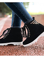 Women's Boots Comfort Fall Winter PU Casual Black Beige Red Green 1in-1 3/4in
