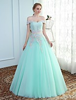 Ball Gown Off-the-shoulder Floor Length Tulle Prom Formal Evening Wedding Party Dress with Beading Lace by MMHY
