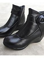 Women's Boots Comfort Winter PU Casual Black Flat
