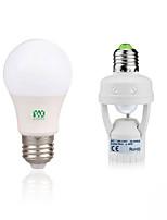 5W Lâmpada Redonda LED 10 SMD 2835 400-500 lm Branco Quente Branco Decorativa Sensor do corpo humano V 1Set E27