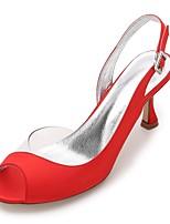 Feminino Sapatos De Casamento Conforto D'Orsay Plataforma Básica Shoe transparente Cetim Primavera Verão Casamento Social Festas & Noite