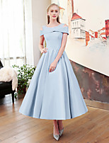 A-Line Jewel Neck Tea Length Satin Tulle Mikado Rehearsal Dinner Cocktail Party Dress with Bandage by QZ