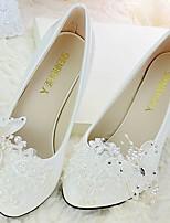 Feminino Sapatos De Casamento Chanel Renda Couro Ecológico Primavera Outono Casamento Social Festas & NoitePedrarias Laço Apliques
