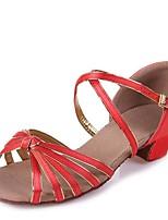 Non Customizable Latin Kid's Dance Shoes Sandals Satin Cuban Heel Red/Fuchsia/Black