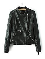 Для женщин Спорт На выход На каждый день Осень Зима Кожаные куртки Воротник-стойка,Простой Однотонный Обычная Длинный рукав,Другое