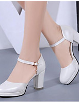 Women's Shoes PU Spring Summer Comfort Heels For Casual White Black Blushing Pink