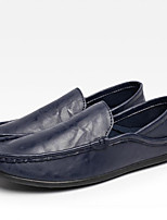 Men's Loafers & Slip-Ons Driving Shoes Light Soles Spring Summer Fall Winter PU Casual Outdoor Office & Career Split Joint Flat Heel Blue