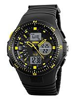SKMEI Hombre Reloj Deportivo Reloj digital Digital Calendario Resistente al Agua Dos Husos Horarios Cronómetro Noctilucente PU Banda Negro