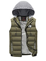 Men's Regular Padded Coat,Simple Casual/Daily Striped-Polyester Polyester Sleeveless