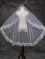 Wedding Veil One-tier Elbow Veils Lace Applique Edge Lace Tulle