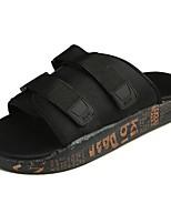 Men's Slippers & Flip-Flops Comfort PU Spring Fall Casual Flat Heel Ruby Black White Flat