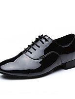 Men's Latin Faux Leather Full Sole Practice Low Heel Black Under 1
