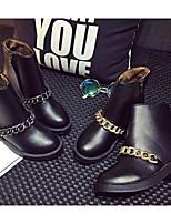 Femme Bottes boîtes de Combat Confort Vrai cuir Polyuréthane Hiver Décontracté Noir Moins de 2,5 cm