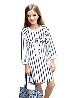 Girl's Casual/Daily Striped Patchwork Dress,Cotton Polyester Fall Long Sleeve