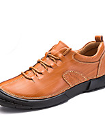 Men's Oxfords Comfort Leather Spring Fall Casual Outdoor Office & Career Lace-up Flat Heel Brown Black Flat
