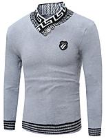 Для мужчин На выход На каждый день Офис Винтаж Простое Шинуазери (китайский стиль) Обычный Пуловер Однотонный С принтом,ХомутДлинный