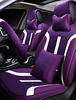 Car Seat Cushion Linen Leather Seat Cover Four General Seat Surrounded By Five Seat 2 Headrest 2 Waist By Giving The Wheel Sets Purple