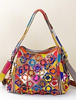 Women Bags Spring/Fall Summer Cowhide Tote with Appliques Flower Plaid Split Joint for Casual Office & Career Rainbow