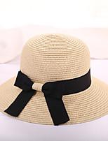 Для женщин На каждый день Отпуск Шапки Соломенная шляпа Шляпа от солнца,Лето Солома Однотонный Чистый цвет Бант