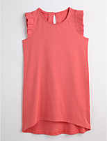 Girls' Solid Tee,Cotton Summer Sleeveless
