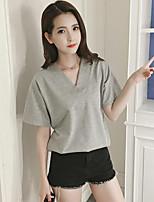 Mujer Chic de Calle Casual/Diario Verano Camiseta,Escote en Pico Un Color Manga Corta Algodón Licra Medio