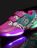 Girls' Athletic Shoes Comfort PU Spring Fall Athletic Walking LED Hook & Loop Flat Heel Green Fuchsia Black Under 1in