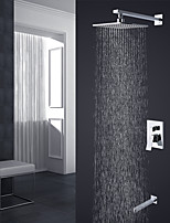 Contemporary High Quality Wall Mounted Rain Shower with  Ceramic Valve Chrome , Shower Faucet