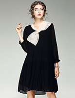 EWUS/Women's Going out Casual/Daily Street chic Shift DressSolid Halter Above Knee Long Sleeve Polyester Spandex Summer Fall Mid Rise