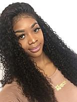 Mulher Perucas de Cabelo Natural Cabelo Humano Frente de Malha 130% Densidade Kinky Curly Peruca Preto Médio Longo Para Mulheres Negras