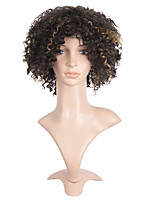 Top Quality Heat Resistant Short Curly Black To Brown Mixed Color Wigs For Black Afro Women