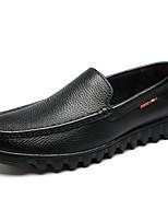 Для мужчин Мокасины и Свитер Для прогулок Удобная обувь Светодиодные подошвы Кожа Осень Зима Повседневные Черный Темно-коричневыйНа