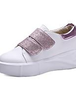 Women's Sneakers Comfort Spring Fall PU Outdoor Office & Career Magic Tape Flat Heel Blushing Pink Black White 1in-1 3/4in