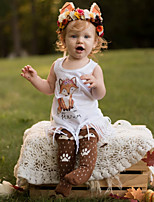 Girl's Print Dress Summer Sleeveless Fox Tassel Baby Girls Dress for Kids Clothes