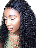 жен. Парики из натуральных волос на кружевной основе Натуральные волосы Лента спереди 180% плотность Парик Черный Короткий Средний Длиный