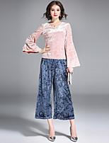 Damen Solide Einfach Festtage Ausgehen Lässig/Alltäglich T-shirt,V-Ausschnitt Frühling Herbst Langarm Nylon Mittel